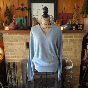 Puritan baby blue v neck long sleeve sweater